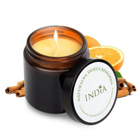 India Cosmetics masszázsgyertya szójaviasszal, kenderolajjal, narancs és fahéj aromával