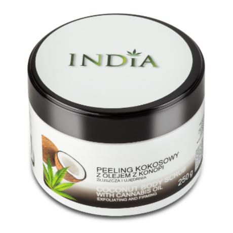 India Cosmetics - kókuszos testradír kendermagolajjal  250 g