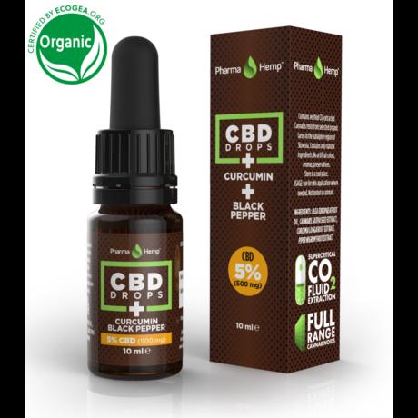 Pharmahemp 5%-os (500mg) CBD csepp kurkumával és fekete borssal